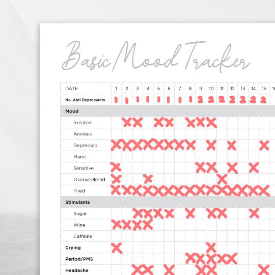 basic mood tracker closeup